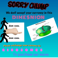 Sorry, Cool, and Acid: SORRY CHLP  We don't accept your currency in this  . DIMESNION  Ook cOOL  Ribosome  Armino acid  Ribosome  large  subunit  Growing  polypeptide  chain  tRNA  6ok coOL  mNRA  Please extchange your currency to  Ribosome  smalI  subunit  To purchase our wares
