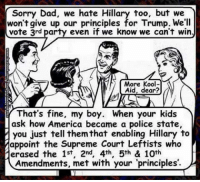 Third party voters can go back to their crayons and coloring books. ~ GATSBY: Sorry Dad, we hate Hillary too, but we  won't give up our principles for Trump. We'll  vote 3rd party even if we know we can't win  More Kool-  Aid, dear?  That's fine, my boy. When your kids  ask how America became a police state,  you just tell them that enabling Hillary to  appoint the Supreme Court Leftists who  ierased the 1st, 2nd, 4th, 5th & 10th  Amendments, met with your 'principles'. Third party voters can go back to their crayons and coloring books. ~ GATSBY