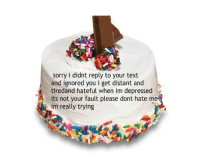 a cake for everyone who knows me https://t.co/nqZ6F3ULAx: sorry i didnt reply to your text  and ignored you i get distant and  A tiredand hateful when im depressed  its not your fault please dont hate me  im really trying a cake for everyone who knows me https://t.co/nqZ6F3ULAx