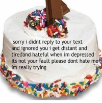 Life, Memes, and Sorry: sorry i didnt reply to your text  and ignored you i get distant and  tiredand hateful when im depressed  its not your fault please dont hate me  im really trying indirect direct to all the people i cut out of my life this year