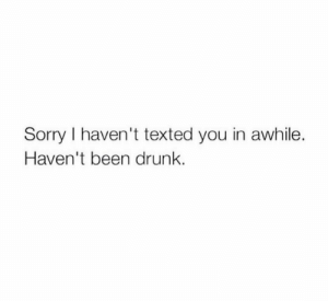 Drunk, Sorry, and Been: Sorry I haven't texted you in awhile.  Haven't been drunk