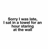 Memes, Sorry, and 🤖: Sorry I was late,  l sat in a towel for arn  hour staring  at the wall Me. goodgirlwithbadthoughts 💅🏼