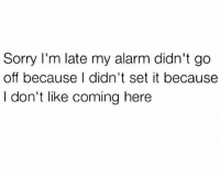 Sorry, Alarm, and Humans of Tumblr: Sorry I'm late my alarm didn't go  off because I didn't set it because  I don't like coming here