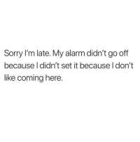 Sorry, Alarm, and Girl Memes: Sorry I'm late. My alarm didn't go off  because I didn't set it because I don't  like coming here. 🤷🏼‍♀️
