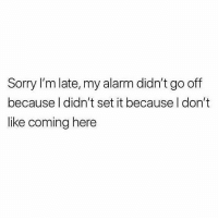 Gym, Sorry, and Alarm: Sorry I'm late, my alarm didn't go off  because l didn't set it because l don't  like coming here Honesty is the best policy 💪