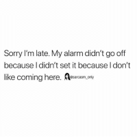 Funny, Memes, and Sorry: Sorry I'm late. My alarm didn't go off  because l didn't set it because I don't  like coming here. esarcasn. only SarcasmOnly
