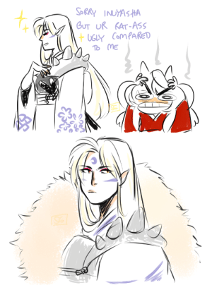 seagroot:  the king of tossing shade : SORRY INUYASHA  GUT UR KAT-ASS  +UGLY ComPAkED  To ME seagroot:  the king of tossing shade
