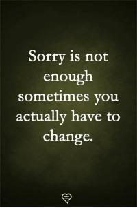 Memes, Sorry, and Change: Sorry is not  enough  sometimes vou  actually have to  change.