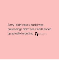 Sorry, Text, and Girl Memes: Sorry l didn't text u back I was  pretending I didn't see it and l ended  up actually forgetting  @fuckboysfailures