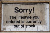 Sorry, Lifestyle, and You: Sorry!  The lifestyle you  ordered is currently  out of stock