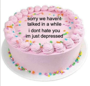 I Dont Hate You: sorry we havent  talked in a while  i dont hate you  im just depressed