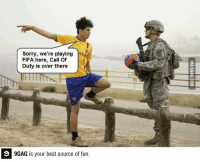 9gag, Dank, and Fifa: Sorry, we're playing  FIFA here, Call of  Duty is over there  GAG is your best source of fun. Sorry this is FIFA.. http://9gag.com/gag/a5e81rE?ref=fbp  Follow us to enjoy more funny pics and memes on http://twitter.com/9gag