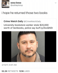 hhhh: sosa bosa  @ushieplstop  i hope he returned those two books  Crime Watch Daily  acrimeWatchDaily  University bookstore worker stole $20,000  worth of textbooks, police say buff.ly/2kzQNOt  2/13/17, 8:41 AM  52.2K  RETWEETS  123K  LIKES hhhh