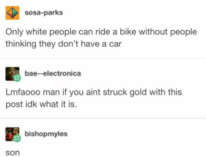 Bae, White People, and White: sosa-parks  Only white people can ride a bike without people  thinking they don't have a car  bae--electronica  Lmfaooo man if you aint struck gold with this  post idk what it is.  bishopmyles  son Ridin through the 6