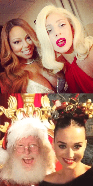 sosorrydad:lady gaga poses with the real icon of christmas while katy perry has to settle for santa  I see 0 lies: sosorrydad:lady gaga poses with the real icon of christmas while katy perry has to settle for santa  I see 0 lies
