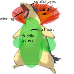 the-bitch-of-izalith:i have proof that typhlosion is the best pokemon: soulful eyes  band of  pain  winning smile  big heart  cuddle  zones the-bitch-of-izalith:i have proof that typhlosion is the best pokemon