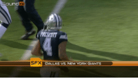"""Memes, New York, and New York Giants: Sound  FX  PRESCOTT  SFX DALLAS VS. NEW YORK GIANTS  DALLAS VS. NEW YORK """"Hey Dez, listen but don't pay attention."""" 😂  @Dak was mic'd up for the @dallascowboys Week 14 WIN 💯 (via @nflfilms) https://t.co/LTH5MesabE"""
