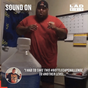 "The best Bottle Cap challenge yet... 😂 (sound on)  Kili So Silly: SOUND ON  LAD  BIBLE  FACILITY MONTIR  ""I HAD TO TAKE THIS #BOTTLECAPCHALLENGE  TO ANOTHER LEVEL...  1I The best Bottle Cap challenge yet... 😂 (sound on)  Kili So Silly"