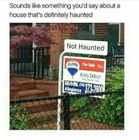 Definitely, Memes, and Good: Sounds like something you'd say about a  house that's definitely haunted  Not Haunted  Kristy DeBruh Sounds like a good deal