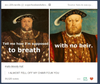 Tardis, Humans of Tumblr, and Chair: Source: here-to-see-qu  ncc-22b-tardis superhusbands4ev...  HENRICVS  Tell me how K'm supposed  with no heir.  to breath  mats-bloody-hat:  I ALMOST FELL OFF MY CHAIR FCUK YOU  84,620 notes