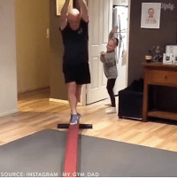 Dad, Family, and Gym: SOURCE: INSTAGRAM MY GYM DAD  piply @my_gym_dad is trying to keep up with his gymnast daughter, and doing a pretty great job. diply diplyvideo instavideo video relationships family gymnastics fatherdaugter workout love