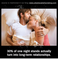 Memes, Relationships, and Blog: source Is mentioned In our blog  www.unbelievablefactsblog.com  30% of one night stands actually  turn into long-term relationships.