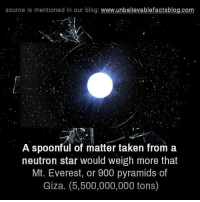 Memes, Taken, and Blog: source is mentioned in our blog  www.unbelievablefactsblog.com  A spoonful of matter taken from a  neutron star would weigh more that  Mt. Everest, or 900 pyramids of  Giza. (5,500,000,000 tons)