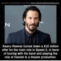 source Is mentioned In our blog  www.unbelievablefactsblog.com  AB 3  AL  Keanu Reeves turned down a $10 million  offer for the main role in Speed 2, in favor  of touring with his band and playing the  role of Hamlet in a theater production.