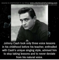 Bae, Memes, and Singing: source is mentioned In our blog: www.unbelievablefactsblog.com  Bae ia wikimedia  Johnny Cash took only three voice lessons  in his childhood before his teacher, enthralled  with Cash's unique singing style, advised him  to stop taking lessons and to never deviate  from his natural voice