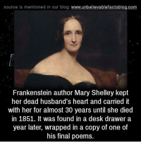 Memes, Blog, and Desk: source is mentioned In our blog  www.unbelievablefactsblog.com  Frankenstein author Mary Shelley kept  her dead husband's heart and carried it  with her for almost 30 years until she died  in 1851. It was found in a desk drawer a  year later, wrapped in a copy of one of  his final poems.