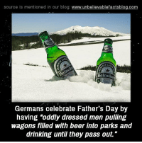 """Beer, Drinking, and Fathers Day: source is mentioned In our blog  www.unbelievablefactsblog.com  Heineke  Germans celebrate Father's Day by  having """"oddly dressed men pulling  wagons filled with beer into parks and  drinking until they pass out."""""""