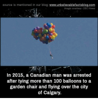 cbc news: source Is mentioned In our blog  www.unbelievablefactsblog.com  Image courtesy: CBC News  In 2015, a Canadian man was arrested  after tying more than 100 balloons to a  garden chair and flying over the city  of Calgary.