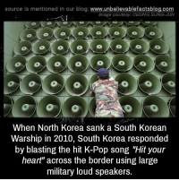 "Memes, North Korea, and Pop: source Is mentioned In our blog  www.unbelievablefactsblog.com  Image courtesy: CHUNG SUNG-JUN  When North Korea sank a South Korean  Warship in 2010, South Korea responded  by blasting the hit K-Pop song ""Hit your  heart"" across the border using large  military loud speakers."