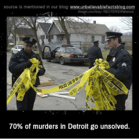 Detroit, Memes, and Reuters: source Is mentioned In our blog  www.unbelievablefactsblog.com  Image courtesy: REUTERS/Rebecca  70% of murders in Detroit go unsolved.