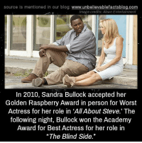"Academy Awards, Memes, and Academy: source Is mentioned In our blog  www.unbelievablefactsblog.com  Image credits: Alcon Entertainment  In 2010, Sandra Bullock accepted her  Golden Raspberry Award in person for Worst  Actress for her role in ""AllAbout Steve.' The  following night, Bullock won the Academy  Award for Best Actress for her role in  ""The Blind Side."""