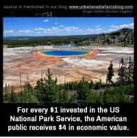 Memes, Blog, and Image: source Is mentioned In our blog  www.unbelievablefactsblog.com  Image credits: Brocken Inaglory  For every $1 invested in the US  National Park Service, the American  public receives $4 in economic value.