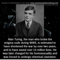 castrated: source is mentioned in our blog  www.unbelievablefactsblog.com  Image Source: turingarchive.org  Alan Turing, the man who broke the  enigma code during WWII, is estimated to  have shortened the war by over two years  and to have saved over 14 million lives. He  was later charged for his homosexuality and  was forced to undergo chemical castration