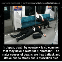 """Memes, 🤖, and Commons: source Is mentioned In our blog  www.unbelievablefactsblog.com  In Japan, death by overwork is so common  that they have a word for it, """"Karoshi"""". The  major causes of deaths are heart attack and  stroke due to stress and a starvation diet."""