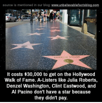 julia: source is mentioned in our blog  www.unbelievablefactsblog.com  It costs $30,000 to get on the Hollywood  Walk of Fame. A-Listers like Julia Roberts,  Denzel Washington, Clint Eastwood, and  Al Pacino don't have a star because  they didn't pay.
