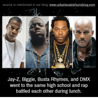 Busta Rhymes, Dmx, and Jay: source Is mentioned In our blog  www.unbelievablefactsblog.com  Jay-Z, Biggie, Busta Rhymes, and DMX  went to the same high school and rap  battled each other during lunch