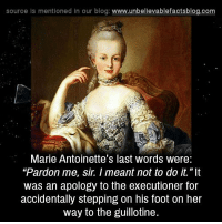 """Memes, Blog, and Last Words: source Is mentioned In our blog  www.unbelievablefactsblog.com  Marie Antoinette's last words were:  """"Pardon me, sir. meant not to do it.""""It  was an apology to the executioner for  accidentally stepping on his foot on her  way to the guillotine."""