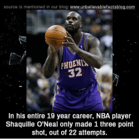 Memes, Nba, and Blog: source Is mentioned In our blog  www.unbelievablefactsblog.com  PHOENIA.  32  In his entire 19 year career, NBA player  Shaquille O'Neal only made 1 three point  shot, out of 22 attempts.