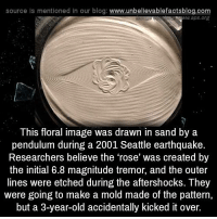 Tremors: source Is mentioned In our blog  www.unbelievablefactsblog.com  WW aps.org  This floral image was drawn in sand by a  pendulum during a 2001 Seattle earthquake.  Researchers believe the 'rose' was created by  the initial 6.8 magnitude tremor, and the outer  lines were etched during the aftershocks. They  were going to make a mold made of the pattern,  but a 3-year-old accidentally kicked it over.