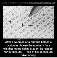 "Lottery, Memes, and Money: source Is mentioned in our blog: www.unbellevablefactsblog.co  After a waitress at a pizzeria helped a  customer choose the numbers for a  winning lottery ticket in 1984, he ""tipped""  her $3,000,000 half of his $6,000,000  prize money."