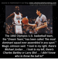 """1992: source Is mentioned in our blog: www.unbellevablefactsblog.co  Image credit Gapvenezia via wikimedia  USA  The 1992 Olympics U.S. basketball team,  the """"Dream Team,"""" has been called the most  dominant squad ever assembled in any sport.""""  Magic Johnson said: T look to my right, there's  Michael Jordan.. I look to my left, there's  Charles Barkley or Larry Bird.. I didn't know  who to throw the ball to!"""