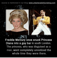 Memes, Blog, and London: source is mentioned in our blog: www.unbellevablefactsblog.com  Freddie Mercury once snuck Princess  Diana into a gay bar in south London.  The princess, who was disguised as a  man, went completely unnoticed the  whole time they were there.