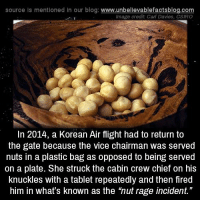 """Memes, Tablet, and Wikipedia: source Is mentioned in our blog: www.unbellevablefactsblog.com  Image credit Cal Davies, CSIRO  In 2014, a Korean Air flight had to return to  the gate because the vice chairman was served  nuts in a plastic bag as opposed to being served  on a plate. She struck the cabin crew chief on his  knuckles with a tablet repeatedly and then fired  him in what's known as the 'nut rage incident."""" https://en.wikipedia.org/wiki/Nut_rage_incident"""