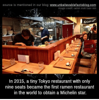 calvinism: source Is mentioned in our blog: www.unbellevablefactsblog.com  Image credit: calvin mok tuan min  In 2015, a tiny Tokyo restaurant with only  nine seats became the first ramen restaurant  in the world to obtain a Michelin star.