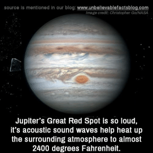 Memes, Nasa, and Waves: source Is mentioned in our blog: www.unbellevablefactsblog.com  Image credit: Christopher Go/NASA  Jupiter's Great Red Spot is so loud,  it's acoustic sound waves help heat up  the surrounding atmosphere to almost  2400 degrees Fahrenheit.
