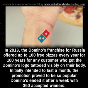 Memes, Blog, and Domino's: source is mentioned in our blog: www.unbellevablefactsblog.com  In 2018, the Domino's franchise for Russia  offered up to 100 free pizzas every year for  100 years for any customer who got the  Domino's logo tattooed visibly on their body.  Initially intended to last a month, the  promotion proved to be so popular  Domino's ended it after a week with  350 accepted winners.